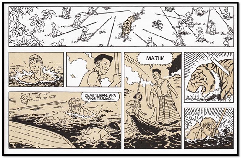 Adegan rampog macan dalam komik Rampokan (2014) yang merujuk nasib tokohnya.